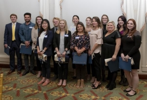 "Interior design senior Casey Anderson (third from left) and industrial design senior Noah Howells (fifth from left) were recognized by the Carolinas Chapter of the International Furnishing and Design Association as ""Rising Stars."" Photo submitted"